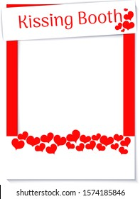 Decorative frame of the Valentine day. Selfie booth icon. Photo elements for kissing booth. Photography cabin on isolated background.