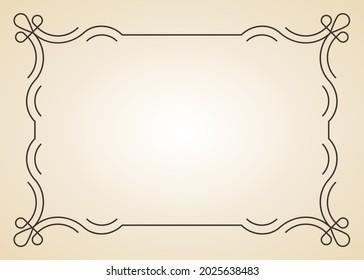 Decorative frame. Vintage calligraphic antique border. Ornate calligraph rectangle frame filigree floral ornaments for framed certificate template