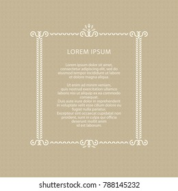 Decorative frame. Wedding invitation. Vector illustration