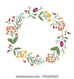 Decorative frame with wild flowers