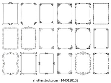 Decorative frames. Retro ornamental frame, vintage rectangle ornaments and ornate border. Decorative wedding frames, antique museum picture borders or deco devider. Isolated icons vector set