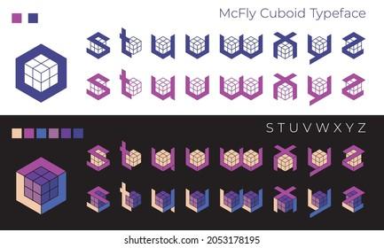 Decorative futuristic pseudo 3D font 'McFly Cuboid', letters S, T, U, V, W, X, Y, Z. Usable for extraordinary Logo, poster design, t-shirt print, music album cover, etc., vector, CMYK.