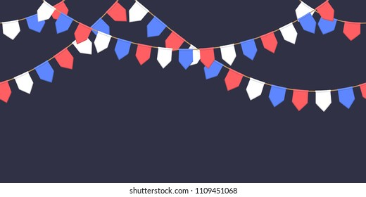 Decorative garland with celebration flags chain, white, blue, red pennons on dark background, footer and banner fireworks, eps 10