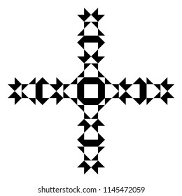 Decorative geometric cross. Symmetric ornamental cross. Abstract geometric pattern. Abstract symbol