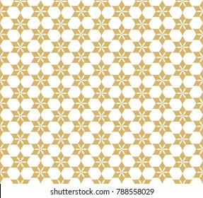 Decorative geometric flower golden grille. Seamless pattern with stylized ornament in oriental style.