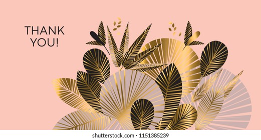 Decorative geometric gold and rosy tropical pattern. Exotic foliage element for header, card, invitation, poster, cover and other web and print design projects