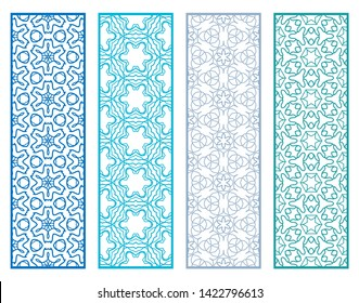 Decorative geometric line borders with repeating texture. Tribal ethnic arabic, indian, turkish ornament, bookmarks templates set. Isolated design elements. Stylized colorful lace patterns collection