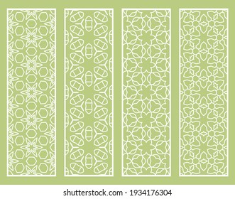 Decorative geometric line borders with repeating texture. Tribal ethnic arabic, indian, turkish ornament, bookmarks templates set. Isolated design elements. Stylized lace patterns collection
