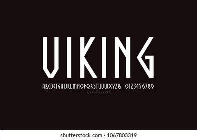 Decorative geometric narrow sans serif font. Letters and numbers for logo and emblem design. White print on black background