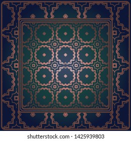 Decorative geometric pattern for fashion print. For tablecloth or bandanna design. Vector illustration.