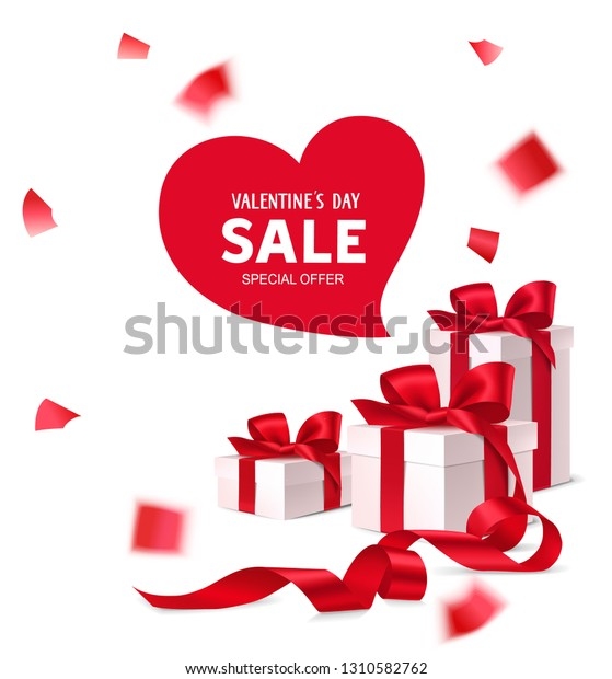 Decorative Gift Boxes Red Bows Long Stock Vector Royalty