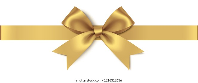 Decorative golden bow with horizontal ribbon isolated on white background. Vector illustration