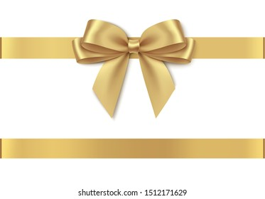 Decorative golden bow with horizontal ribbon isolated on white background. Vector illustration