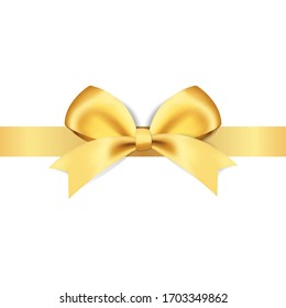 Decorative golden bows with yellow ribbon vector illustration