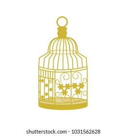 Decorative, golden cage for birds on white isolated background. Template for decor of postcard, album. Vector illustration.