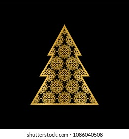 Decorative golden christmas tree on a black background.Paper cutting logo.Openwork fir-tree. Can be used for laser or plotter cutting.Vector illustration.
