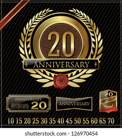 Decorative golden emblem of anniversary