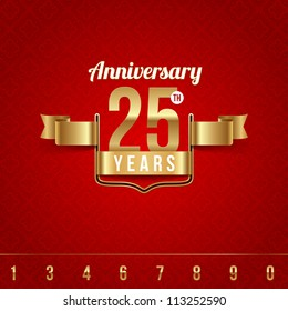 Decorative golden emblem of anniversary - vector illustration (red background - seamless)