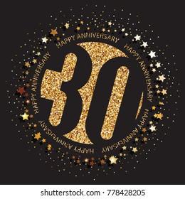 Decorative golden emblem of anniversary - vector illustration. 30th birthday logo.