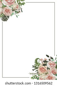 Decorative golden rectangular frame with eucalyptus, fern and boxwood branches, brunia, pink rose. For wedding invitations, vignettes, postcards, posters, documents, diplomas. Vertical
