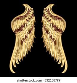 Decorative golden wings
