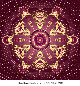 Decorative gold-purple round frame with vintage patterns (vector)