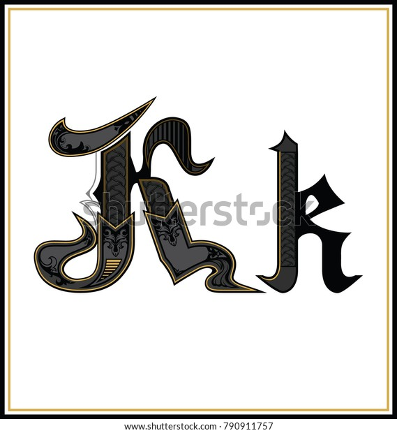 Decorative Gothic Letter K Small Capital Stock Vector