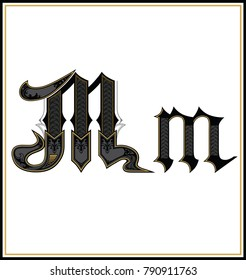 Decorative Gothic Letter M. Small and Capital  letters with pattern. Characters of Alphabet  are separate from the white background.  Initial and small letters