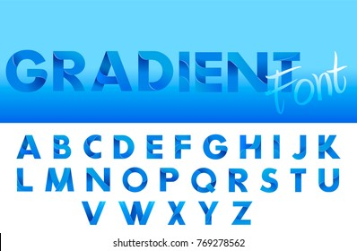Decorative Gradient blue alphabet font. Letters for logo and design typography. Vector flat illustration
