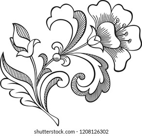decorative grafic flower element