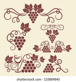 Decorative grape vine elements for design