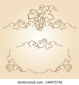 Decorative grapes & vine vector ornament frame
