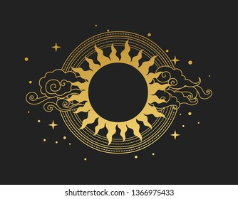 Decorative graphic design element with place for your text in oriental style. Sun with rays and clouds. Vector hand drawn illustration