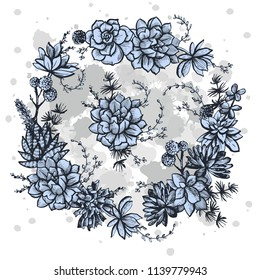 Decorative graphic flower illustration with succulents