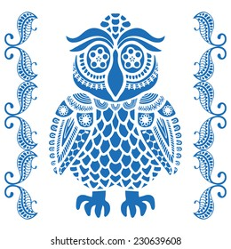 Decorative graphic owl with lace border, cute bird, card design, geometric ornament, vector illustration