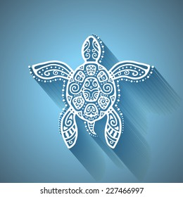 Decorative graphic turtle with shadow, tattoo style, tribal totem animal, detailed lace pattern, isolated element on blue background, vector illustration