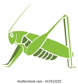 Decorative grasshopper. Vector illustration. Good for company ore a nature project sign.