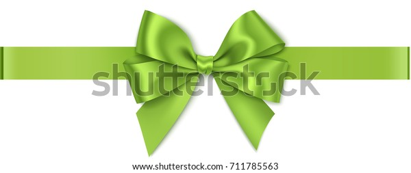 Decorative green bow isolated on white. Vector bow and horizontal ribbon. Christmas decoration