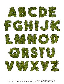 Decorative green marijuana alphabet set with Isolated fonts design in weed cannabis hemp buds stylization. Modern vector cartoon illustration ganja typography letters design for lettering print.