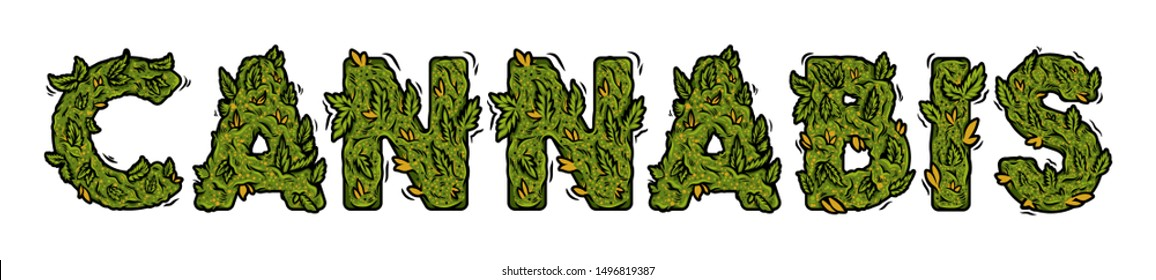 """Decorative green marijuana font with Isolated lettering design weed inscription """"CANNABIS"""" made from cannabis hemp buds. Modern vector cartoon illustration ganja typography letters for print design."""