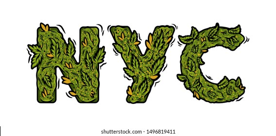 """Decorative green marijuana font with Isolated lettering design weed inscription """"NYC"""" made from cannabis hemp buds. Modern vector cartoon illustration ganja typography souvenir letters print design."""