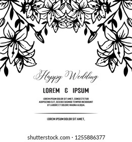 decorative greeting card or invitation wedding with floral vector