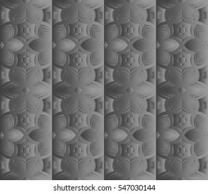 decorative grey panel with a geometric floral ornament. modern interior decoration. seamless pattern. vector illustration.