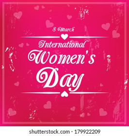 Decorative grungy card for international Women's Day on 8 March vector