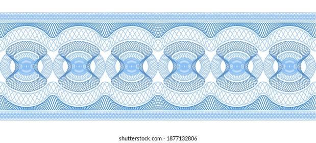 Decorative guilloche border. Seamless vector image.