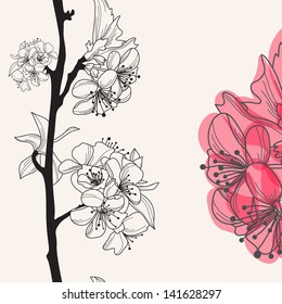 decorative hand drawn cherry blossom , seamless pattern