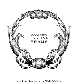 Decorative hand drawn floral frame with stylized leaves. Circular cartouche with central white copyspace for your text.