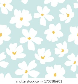 Decorative hand drawn floral seamless pattern for print, textile, fabric. Modern flowers background.
