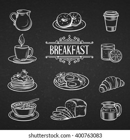 Decorative hand drawn icons breakfast foods. Vintage vector  illustration breakfast  in chalkboard style.