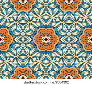 Decorative hand drawn seamless pattern. Abstract colorful floral geometric background, doodle artistic pattern. Tribal ethnic arabic, indian ornament. Textile fabric or paper print